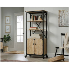 Load image into Gallery viewer, Mesquite FarmHome 3 Tier Entryway Bookcase Storage Cabinet Fixed Casters