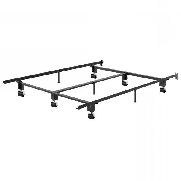 King size Heavy Duty Metal Bed Frame with Wheels and Headboard Brackets