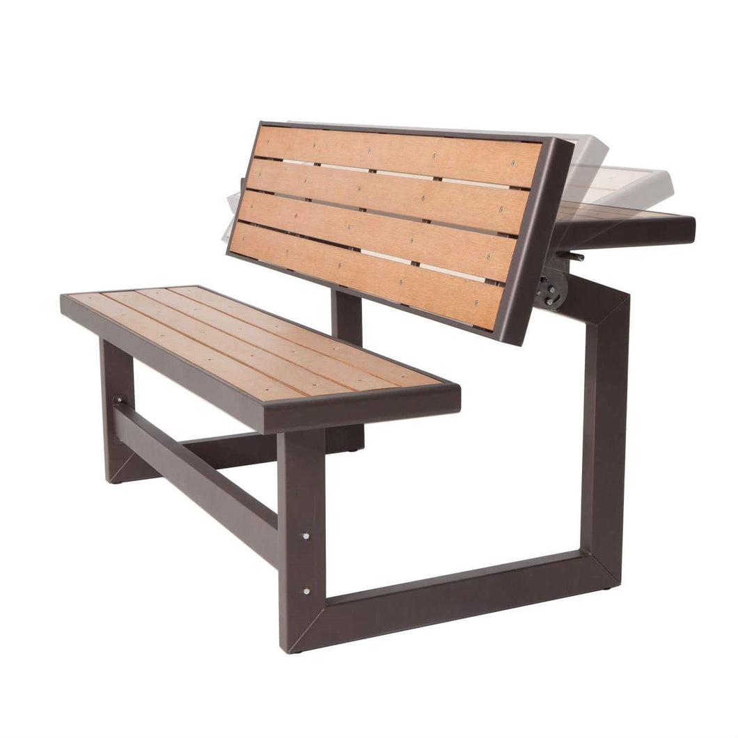 Metal and Wood Park Style Bench for Outdoor Patio Lawn Garden