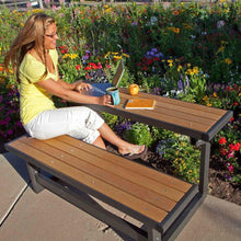 Load image into Gallery viewer, Metal and Wood Park Style Bench for Outdoor Patio Lawn Garden