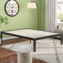 Load image into Gallery viewer, King size 18 Inch Easy Assemble Metal Platform Bed Frame Wooden Slats