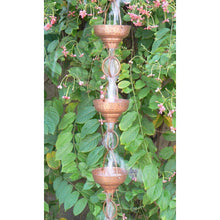 Load image into Gallery viewer, Pure Copper 8.5-Ft Rain Chain with 13 Hammered Funnel Shape Cups