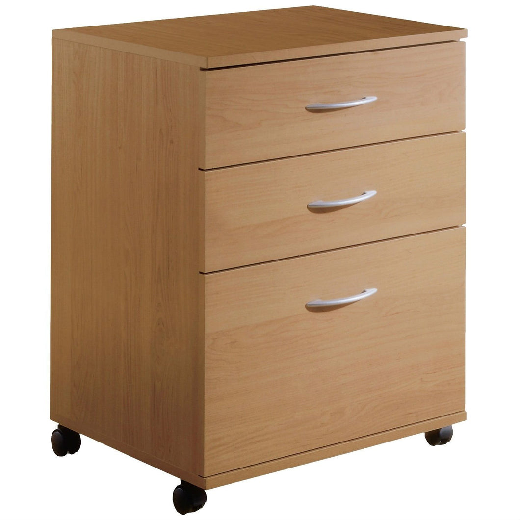 Contemporary 3-Drawer Mobile Filing Cabinet in Natural Maple Finish