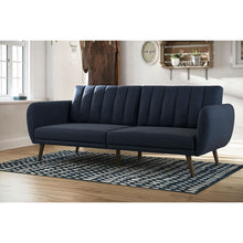Load image into Gallery viewer, Modern Navy Blue Linen Upholstered Sofa Bed Futon with Mid-Century Style Wood Legs