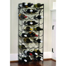 Load image into Gallery viewer, Black Metal 40-Bottle Wine Rack with Wall Anchors