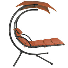 Load image into Gallery viewer, Orange/Red Single Person Sturdy Modern Chaise Lounger Hammock Chair Porch Swing