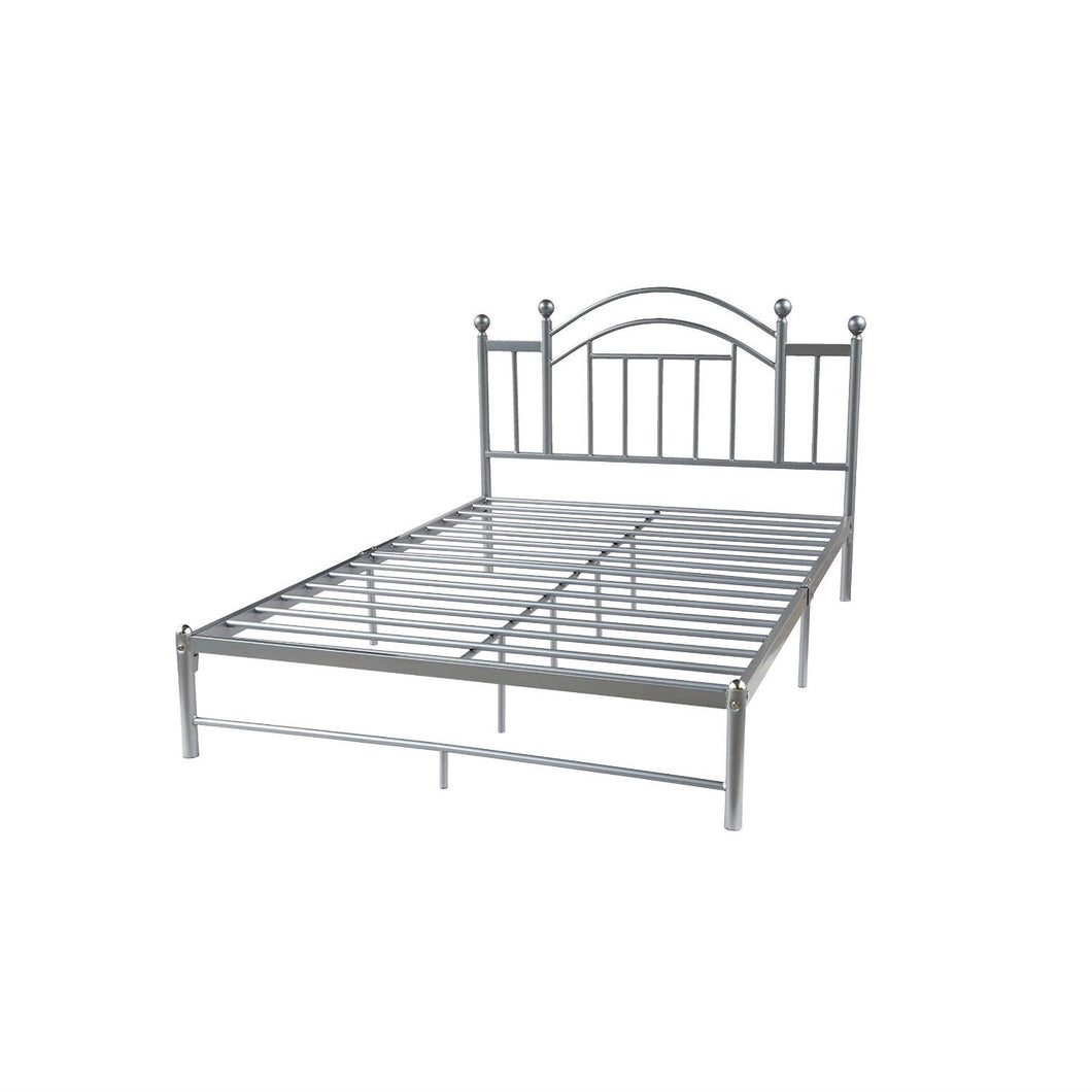 Full size Silver Metal Platform Bed Frame with Arched Headboard