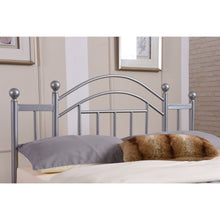 Load image into Gallery viewer, Full size Silver Metal Platform Bed Frame with Arched Headboard