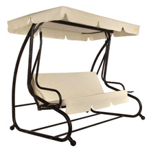 Load image into Gallery viewer, Outdoor 3-Seat Canopy Swing with Beige Cushions for Patio Deck or Porch