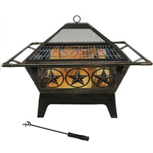 Load image into Gallery viewer, Square Outdoor Steel Wood Burning Fire Pit with Star Design