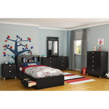 Load image into Gallery viewer, Twin-size Bookcase Headboard in Black Finish - Modern Design