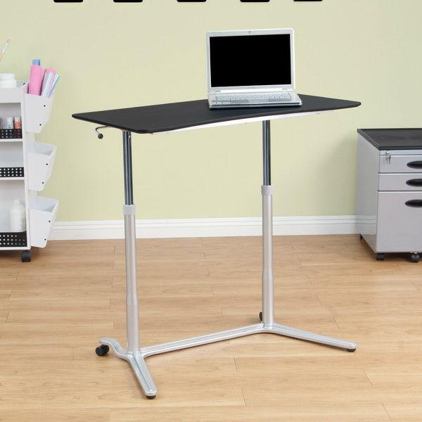 Modern Ergonomic Sit Down Stand Up Desk in Black Finish