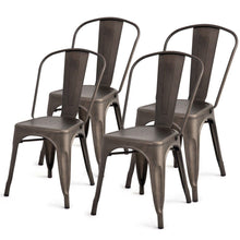 Load image into Gallery viewer, Set of 4 Indoor Outdoor Metal Stackable Bistro Dining Chairs in Copper Finish