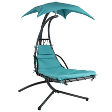 Load image into Gallery viewer, Teal Single Person Sturdy Modern Chaise Lounger Hammock Chair Porch Swing