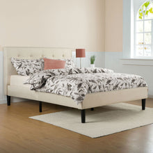 Load image into Gallery viewer, Queen size Taupe Beige Upholstered Platform Bed Frame with Headboard