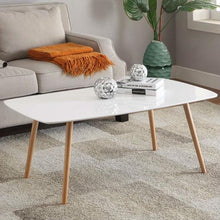 Load image into Gallery viewer, White Top Mid-Century Coffee Table with Solid Wood Legs