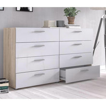 Load image into Gallery viewer, White Modern Bedroom 8-Drawer Double Dresser with Oak Finish Sides and Top