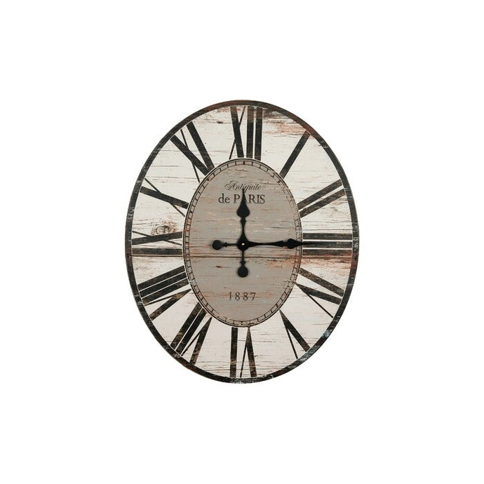 White Washed Oversized Distressed Paris Wood Wall Clock