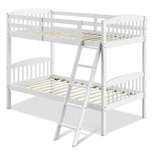 Load image into Gallery viewer, Twin over Twin Wooden Bunk Bed with Ladder in White Wood Finish