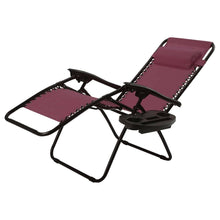 Load image into Gallery viewer, Set of 2 Burgundy Wine Red Folding Outdoor Zero Gravity Lounge Chair
