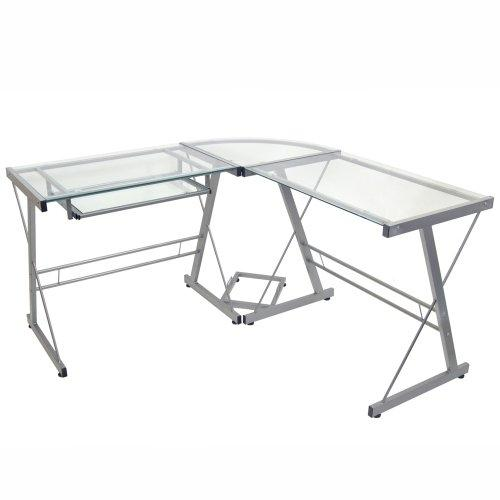 Modern Corner Computer Desk in Metal and Glass
