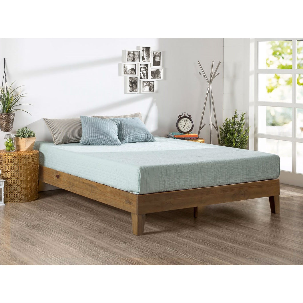 Twin size Solid Wood Platform Bed Frame in Pine Finish