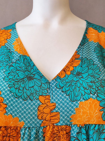Tunique Hortensia - Orange & Turquoise