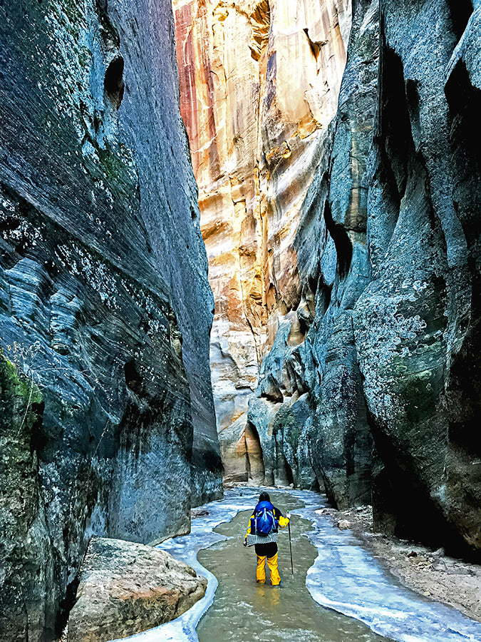 Backpacking Narrows Slot Canyon Hike Top Down Winter Zion National Park Bennett Fisher