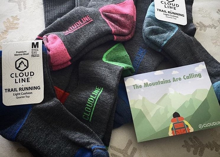 Cloudline socks display hiking merino wool