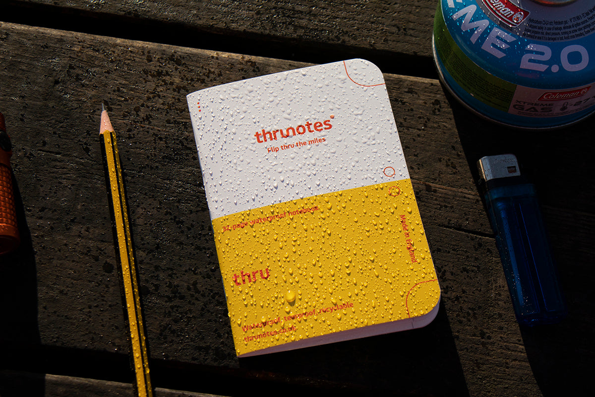 thrunotes waterproof tearproof thru-hiking notebook paper outdoors small lightweight sketch pad