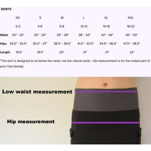 Adventure Skirt by Purple Rain Size Chart