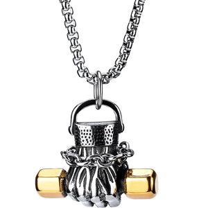 Male power dumbbell fist necklace