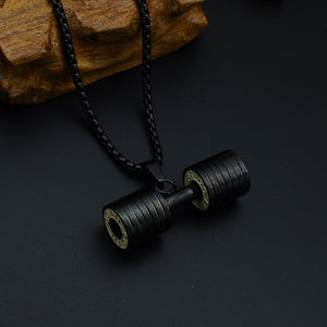 Stainless steel fitness dumbbell necklace pendant