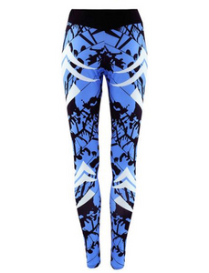 Printed color blue sports yoga pants