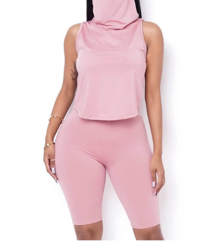 Two Piece Biker Short Set Pink