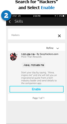 Step 2 - Search for hackers, then select enable.