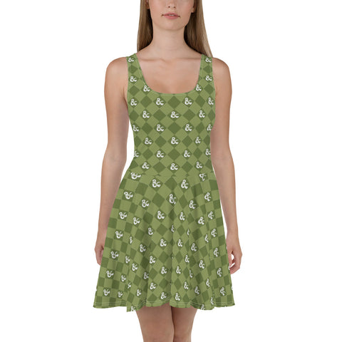 D&D Green Pattern Skater Dress by Sexy Hackers