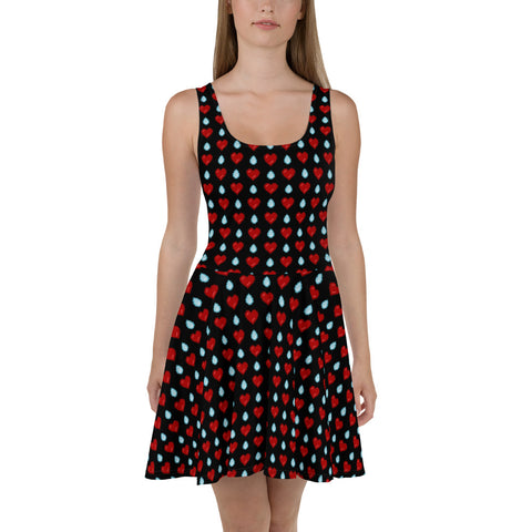 8-Bit Heart Break Skater Dress