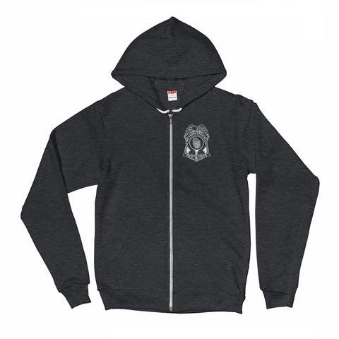Armchair Detective Badge Full-Zip Unisex Hoodie by Sexy Hackers