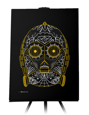 Canvas - C-3PO Sugar Skull 24x36 - 1
