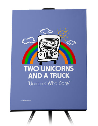 Two Unicorns and A Truck Canvas