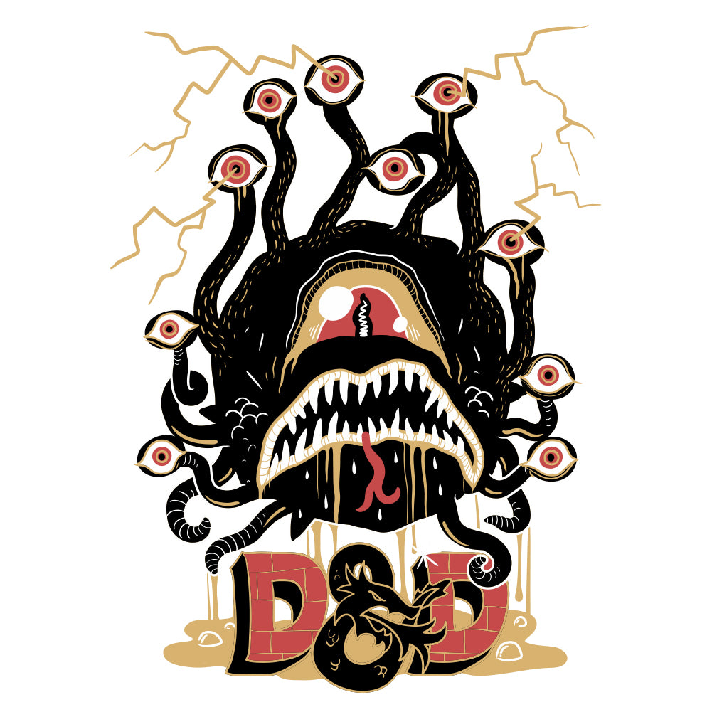 D&D Bloodkiss Beholder Men's Unisex White T-Shirt by Sexy Hackers