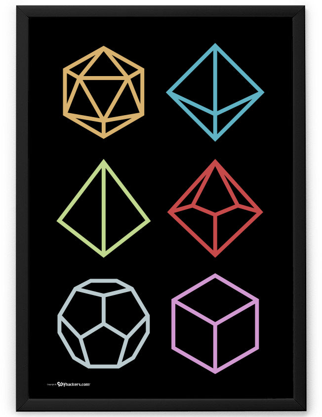 Multi-Sided RPG Gamer Dice Icons Poster