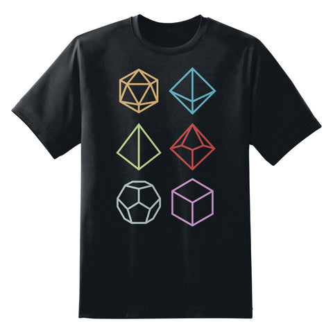 Multi-Sided RPG Gamer Dice Icons Unisex T-Shirt by Sexy Hackers