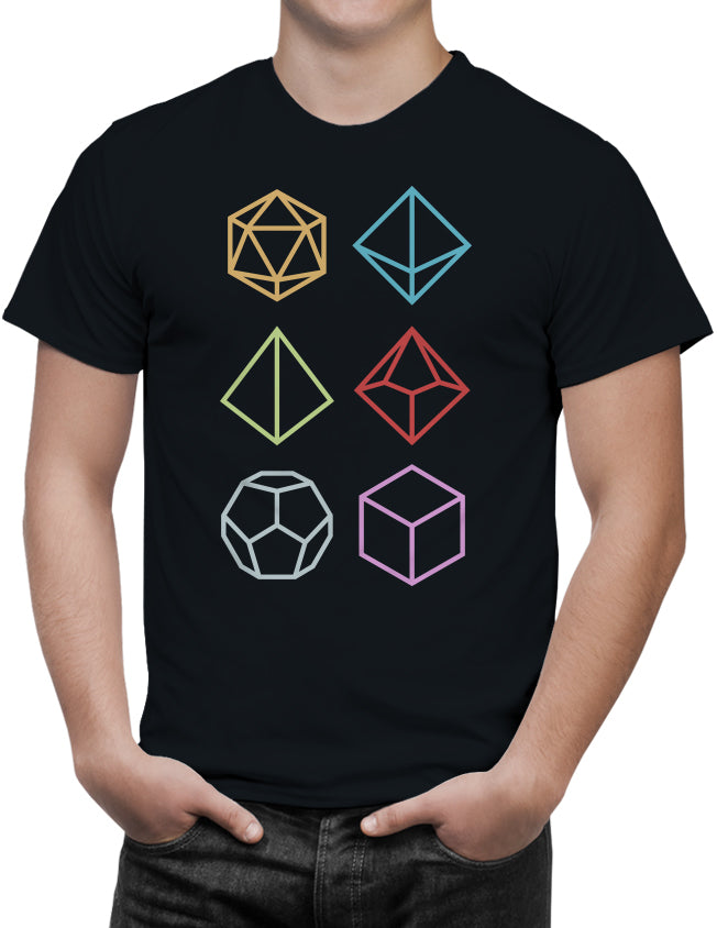 Multi-Sided RPG Gamer Dice Icons Men's Unisex T-Shirt by Sexy Hackers
