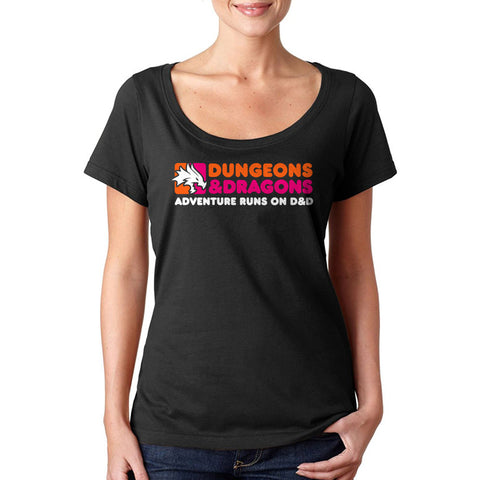 Dunkin' Donuts Dungeons and Dragons Ladies' Sheer Scoopneck T-Shirt