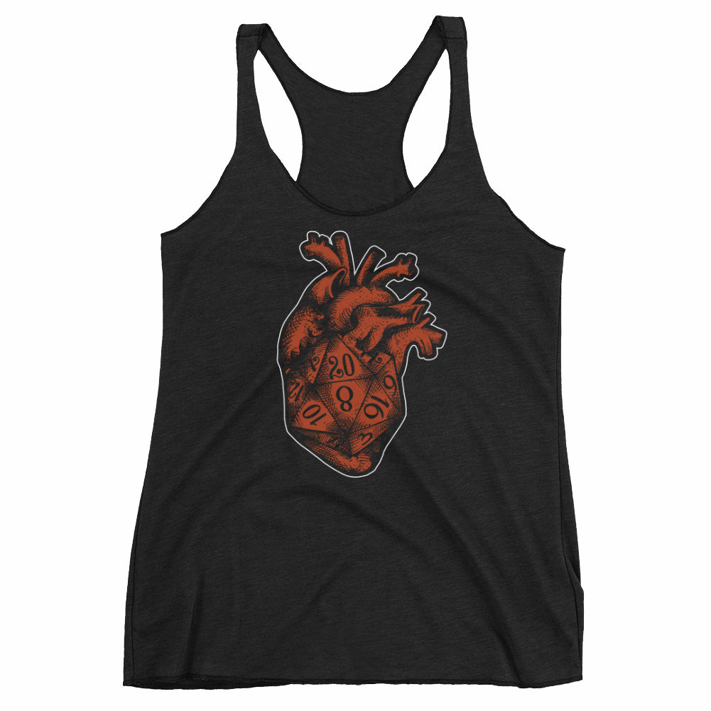 D20 Gamer Dice Heart Racerback Tank-Top