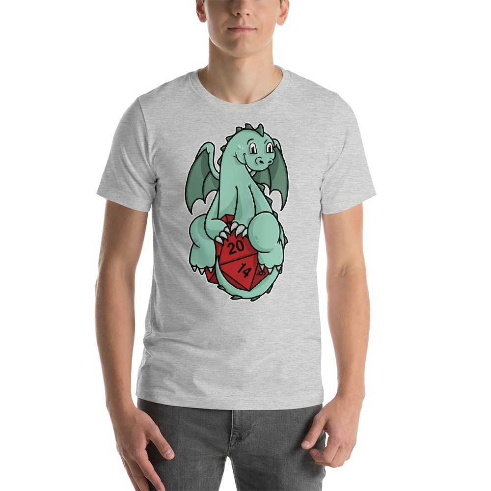 Cute Baby Dragon Holding 20-Sided Die T-Shirt