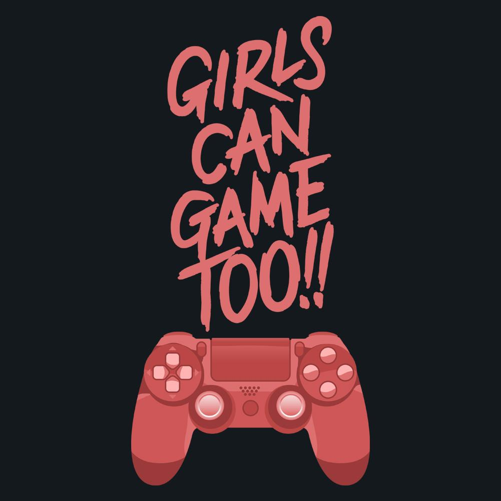 Girls Can Game Too Women's Sheer Scoop-Neck T-Shirt