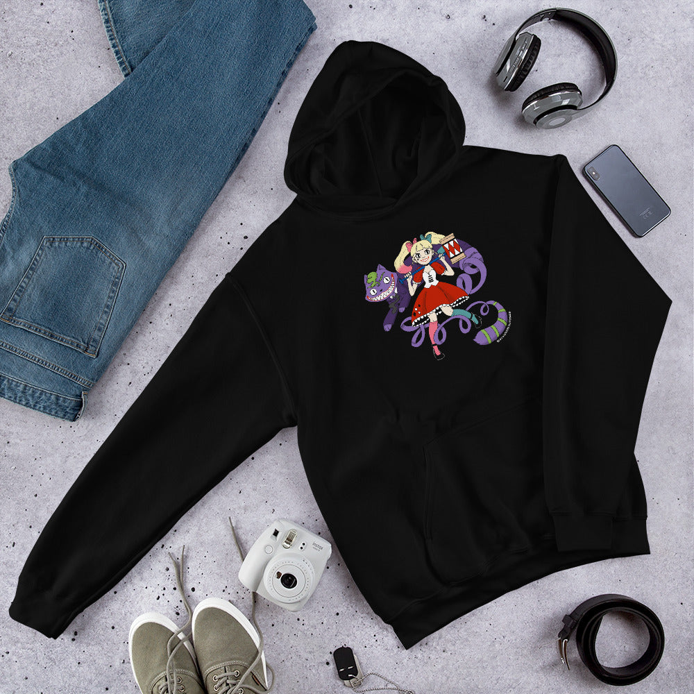 Harley Quinn and Joker in Wonderland Unisex Hoodies